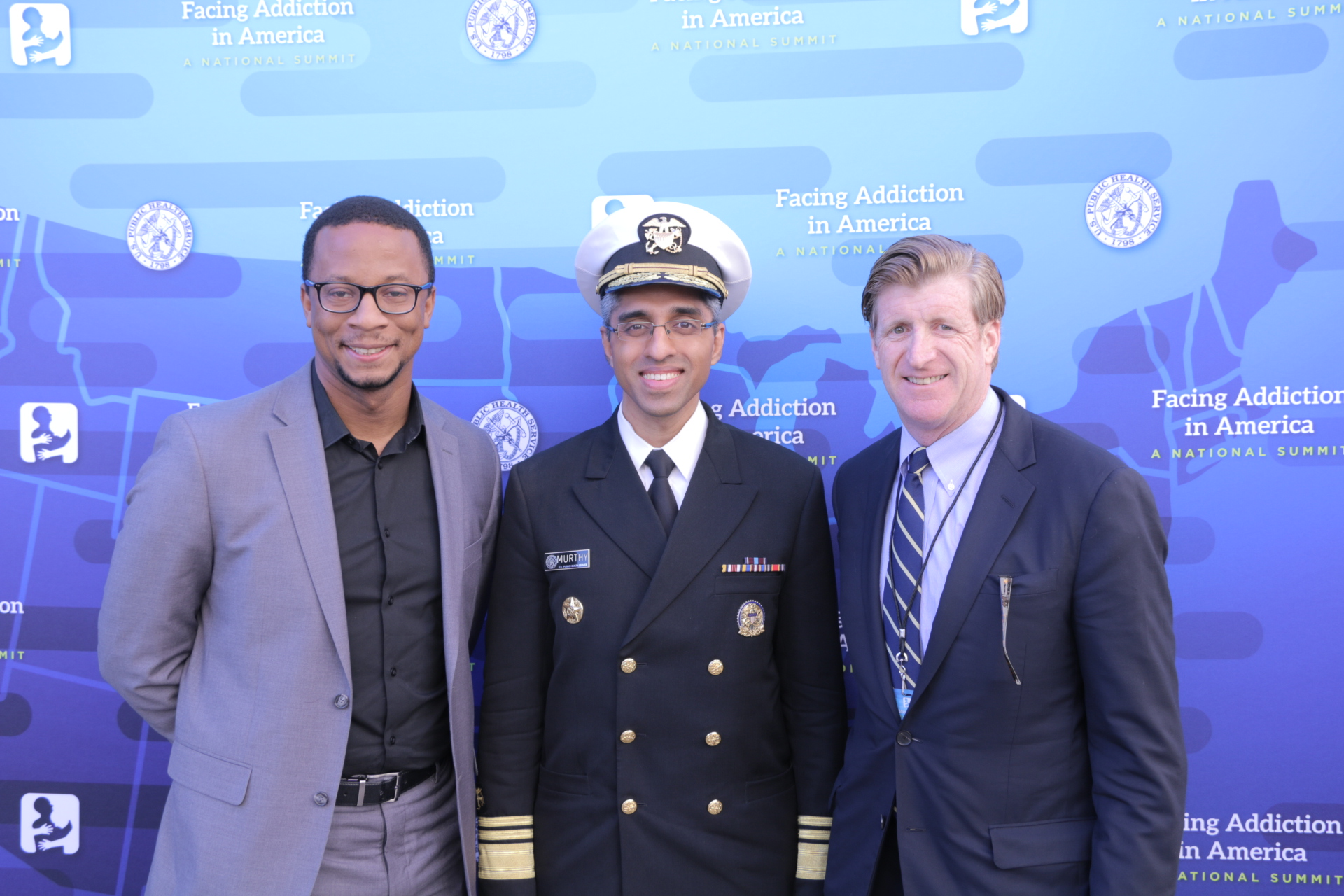 Patrick J. Kennedy and Surgeon General Vivek Murthy at Surgeon General Report on Addiction release