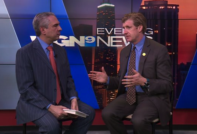 Patrick J. Kennedy speaks to the host of WGN-TV's Politics Tonight.